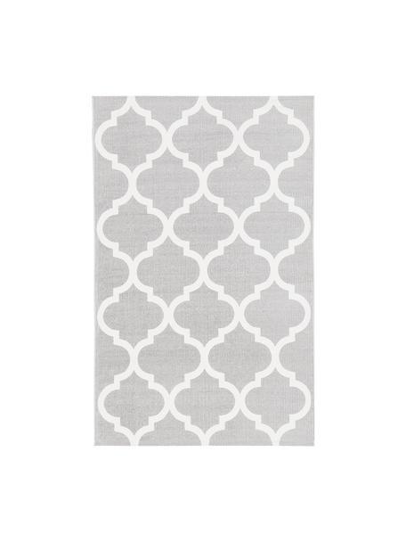 Dünner Baumwollteppich Amira in Grau/Weiß, handgewebt, 100% Baumwolle, Hellgrau, Cremeweiß, B 50 x L 80 cm (Größe XXS)