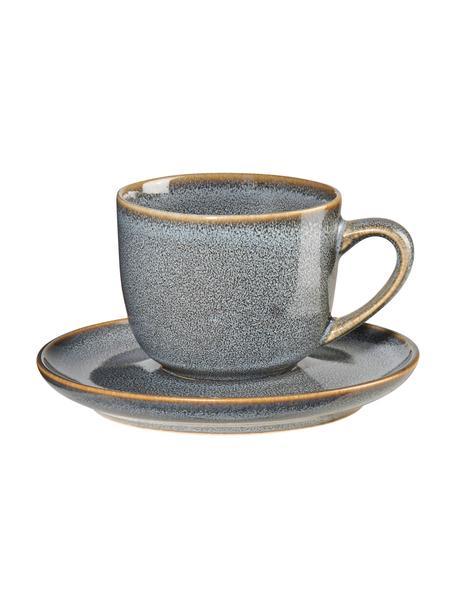 Tazas espresso con platitos de gres Saisons, 6uds., Gres, Azul, Ø 7 x Al 6 cm
