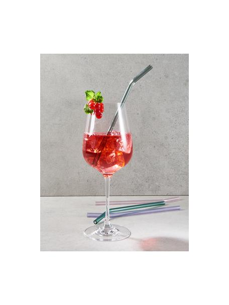 Glas-Strohhalme Long Drink mit Bürste, 4er-Set, Borosilikatglas, Rosa, Lila, Türkis, Silberfarben, L 24 cm