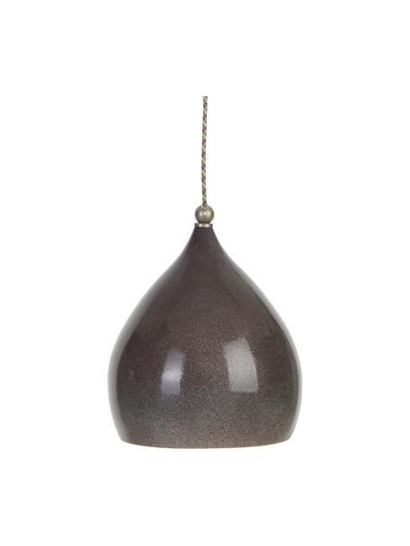 Kleine hanglamp Vague van keramiek, Lampenkap: keramiek, Baldakijn: keramiek, Grijs, 26 x 29 cm