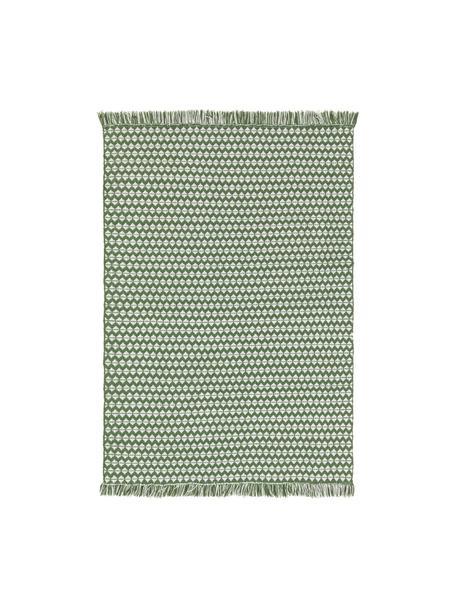 Tappeto etnico da interno-esterno con frange Morty, 100% poliestere (PET riciclato), Verde, bianco latteo, Larg. 160 x Lung. 230 cm (taglia M)