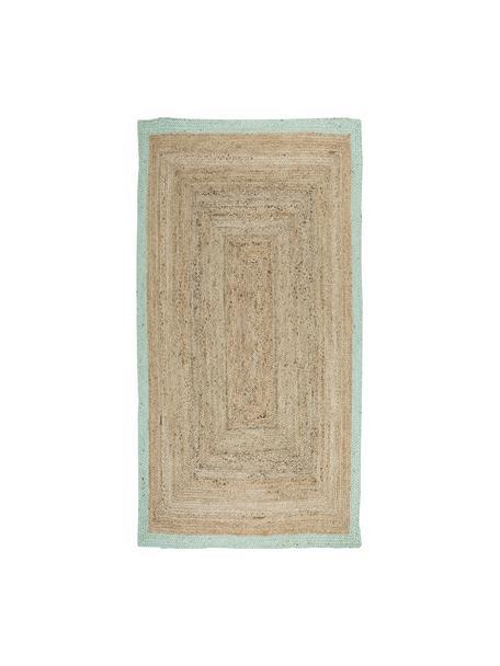 Alfombra artesanal de yute Shanta, Yute, Yute, verde menta, An 80 x L 150 cm (Tamaño XS)
