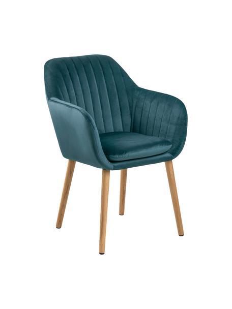 Krzesło z podłokietnikami z aksamitu i drewnianymi nogami Emilia, Tapicerka: poliester (aksamit) Dzięk, Nogi: drewno dębowe, olejowane, Aksamitny niebieski, nogi: drewno dębowe, S 57 x G 59 cm