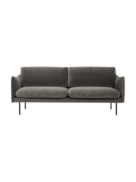 Sofa z aksamitu z metalowymi nogami Moby (2-osobowa), Tapicerka: aksamit (wysokiej jakości, Nogi: metal malowany proszkowo, Aksamitny szarobrązowy, S 170 x G 95 cm