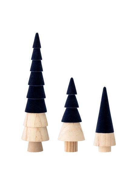 Decoratieve fluwelen boompjesset Thace, 3-delig, Hout, polyester fluweel, Donkerblauw, houtkleurig, Set met verschillende formaten