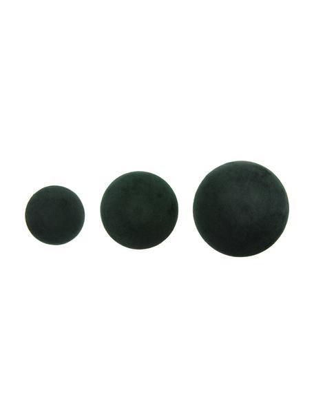 Set de ganchos de terciopelo Giza, 3pzas., Fijación: metal recubierto, Verde oscuro, latón, Set de diferentes tamaños