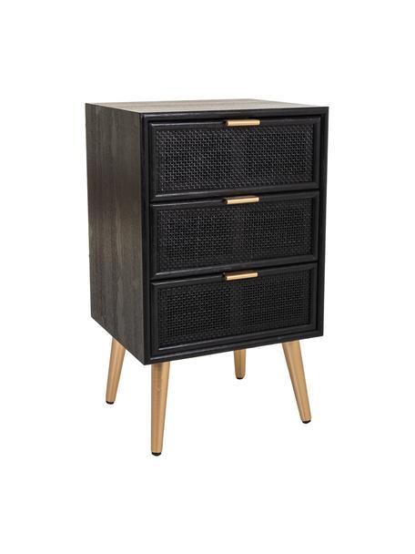 Comodino in legno con cassetti Cayetana Shelfy, Piedini: legno di bambù verniciato, Maniglie: metallo verniciato, Nero, Larg. 42 x Alt. 71 cm