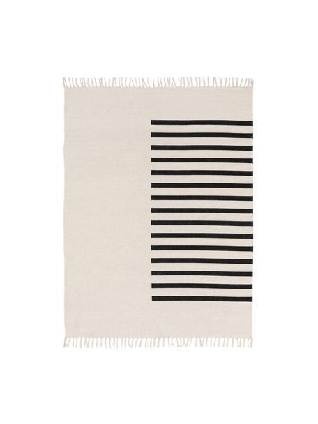 Alfombra artesanal de lana Neo, 100%lana Las alfombras de lana se pueden aflojar durante las primeras semanas de uso, la pelusa se reduce con el uso diario, Crema, negro, An 120 x L 170 cm (Tamaño S)
