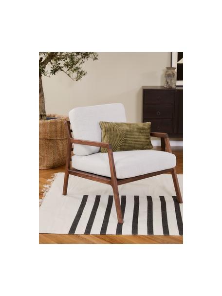 Ręcznie tkany dywan kilim z wełny Neo, 100% wełna Włókna dywanów wełnianych mogą nieznacznie rozluźniać się w pierwszych tygodniach użytkowania, co ustępuje po pewnym czasie, Kremowy, czarny, S 120 x D 170 cm (Rozmiar S)
