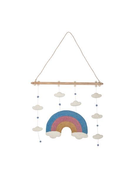 Móvil bebé Rainbow, Estructura: madera, Tapizado: fieltro de lana, Multicolor, An 57 x Al 90 cm