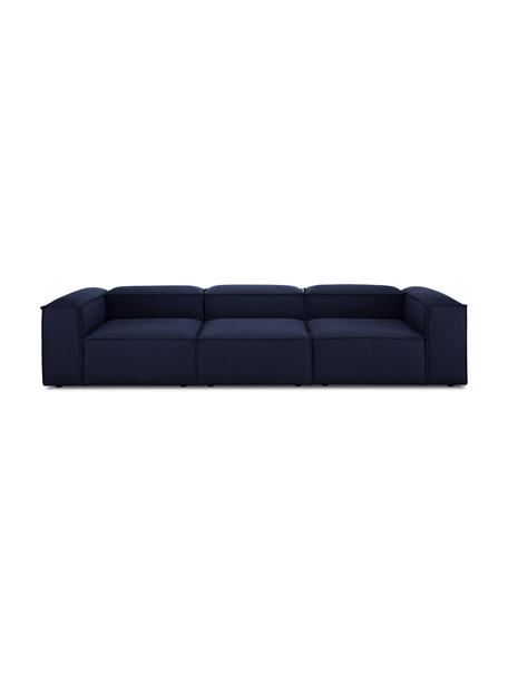 Modulaire bank Lennon (4-zits) in blauw, Bekleding: 100% polyester De slijtva, Frame: massief grenenhout, multi, Poten: kunststof De poten bevind, Stof blauw, 327 x 119 cm