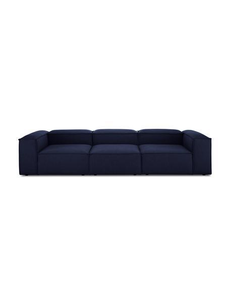Sofa modułowa Lennon (4-osobowa), Tapicerka: 100% poliester Dzięki tka, Stelaż: lite drewno sosnowe, skle, Nogi: tworzywo sztuczne Nogi zn, Niebieski, S 327 x G 119 cm
