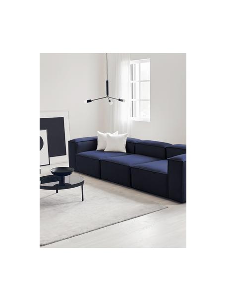 Modulares Sofa Lennon (4-Sitzer) in Blau, Bezug: 100% Polyester Der strapa, Gestell: Massives Kiefernholz, Spe, Webstoff Blau, B 327 x T 119 cm