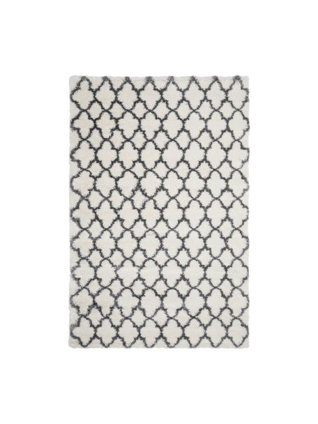 Tappeto a pelo lungo color crema/grigio scuro Mona, Retro: 78% juta, 14% cotone, 8% , Bianco crema, grigio scuro, Larg. 200 x Lung. 300 cm (taglia L)