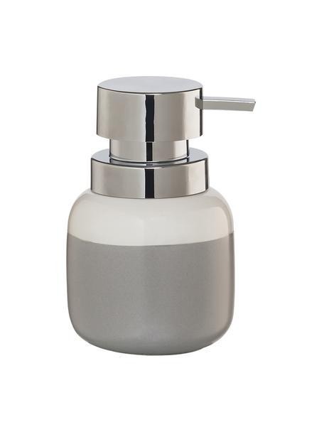 Dosatore di sapone in porcellana Sphere, Recipiente: porcellana, Testa della pompa: materiale sintetico, Recipiente: grigio chiaro, bianco Testa della pompa: argento, Ø 10 x Alt. 14 cm
