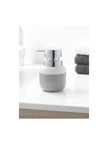 Dosificador de jabón Sphere, Recipiente: porcelana, Dosificador: plástico, Gris claro, blanco, Ø 10 x Al 14 cm