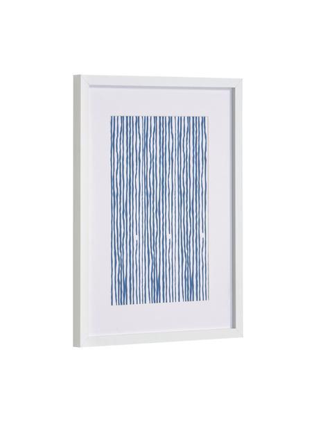 Gerahmter Digitaldruck Kuma Stripes, Rahmen: Mitteldichte Holzfaserpla, Bild: Papier, Weiß, Blau, 30 x 40 cm