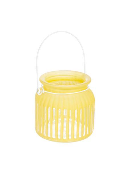 Windlicht Claire, Windlicht: Glas, Griff: Metall, beschichtet, Gelb, Ø 11 x H 11 cm