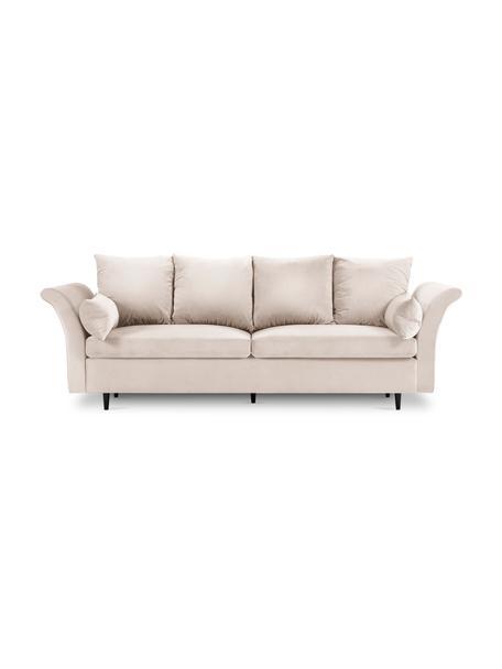 Sofa z aksamitu z funkcją przechowywania Lola (3-osobowa), Beżowy, S 245 x G 95 cm