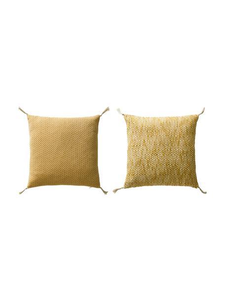 Set de fundas de cojines con borlas Fancy, 2pzas., 100%algodón, Amarillo, blanco crudo, An 45 x L 45 cm