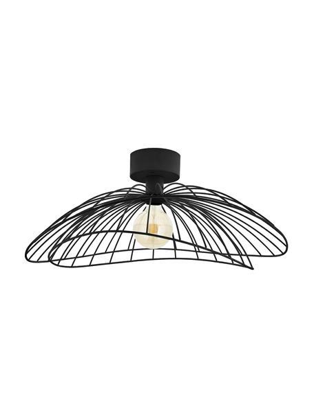 Aplique / Plafón grande Ray, con enchufe, Pantalla: metal, Fijación: metal, Cable: plástico, Negro, Ø 60 x Al 20 cm