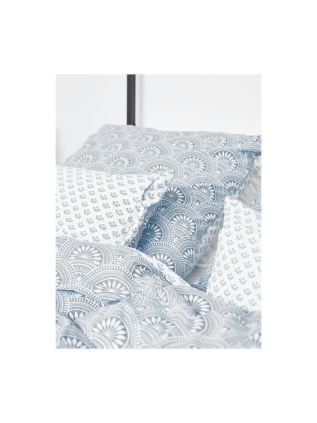Gemusterte Wendekopfkissenbezüge Poliana aus Bio-Baumwolle, 2 Stück, Webart: Renforcé Fadendichte 180 , Blau, Weiß, 40 x 80 cm