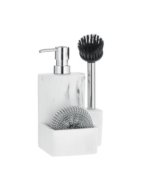 Dozownik na płyn do naczyń z gąbką i szczotką Galia, Biały, marmurowy, odcienie srebrnego, czarny, S 24 x W 12 cm