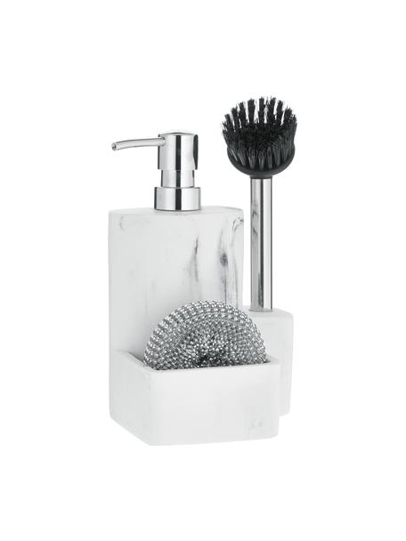 Set lavavajillas Galia, 3pzas., Recipiente: poliresina, Estropajo: metal, Mármol blanco, plateado, negro, An 24 x Al 12 cm
