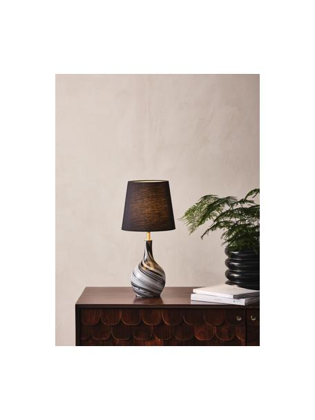 Lampada da tavolo con base in vetro Budgee, Paralume: tessuto, Base della lampada: vetro, Struttura: metallo, Nero, bianco, Ø 20 x Alt. 40 cm