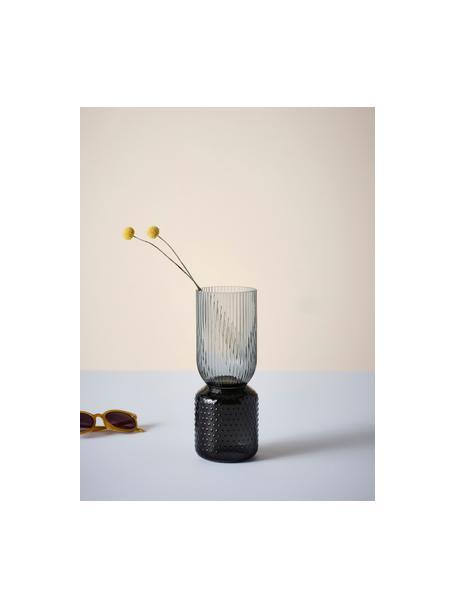 Jarrón de vidrio Lex, Vidrio, Gris oscuro, Ø 10 x Al 25 cm