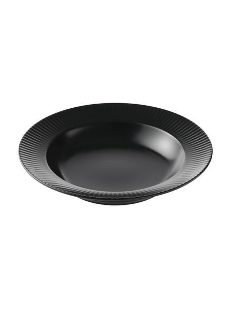 Piatto fondo nero con struttura rigata Groove 4 pz, Gres, Nero, Ø 23 x Alt. 4 cm