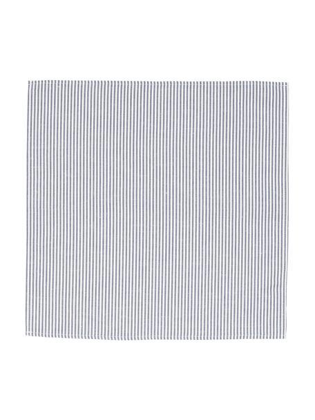 Stoffen servetten Stripes van halflinnen, Wit, blauw, 45 x 45 cm