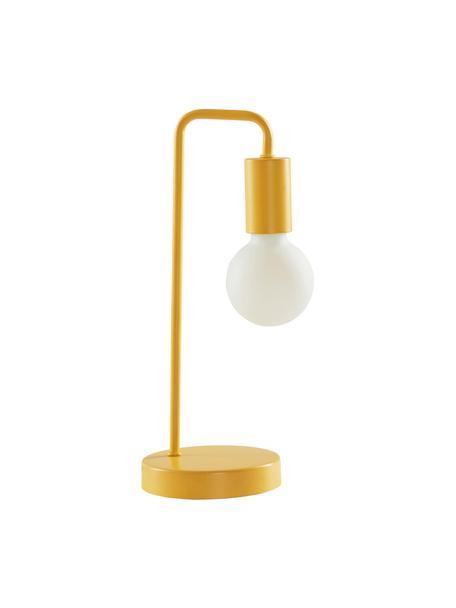 Lámpara de mesa Cascais, Pantalla: metal recubierto, Cable: cubierto en tela, Amarillo, Ø 14 x Al 35