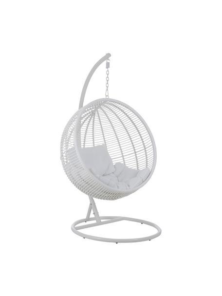 Poltrona sospesa con struttura in metallo Round, Bianco, Larg. 119 x Alt. 193 cm