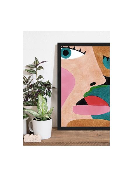 Ingelijste digitale print Close Up Face, Afbeelding: digitale print op papier,, Lijst: gelakt hout, Multicolour, 43 x 53 cm