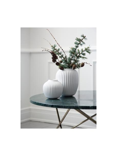 Jarrón artesanal de diseño Hammershøi, Porcelana, Blanco, Ø 14 x Al 13 cm
