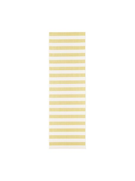 Gestreepte in- & outdoor loper Axa, 86% polypropyleen, 14% polyester, Crèmewit, geel, 80 x 250 cm
