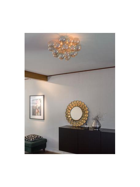 Plafondlamp Gross met glazen bollen, Baldakijn: verchroomd nikkel, Amberkleurig, Ø 50 x H 27 cm