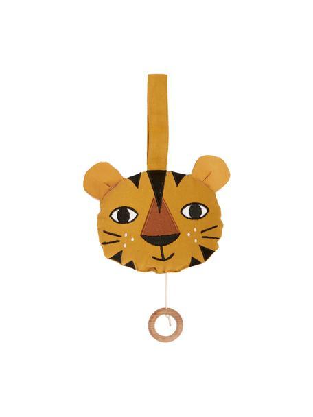 Handgemaakte speelklok Tiger, Katoen, Geel, 14 x 14 cm