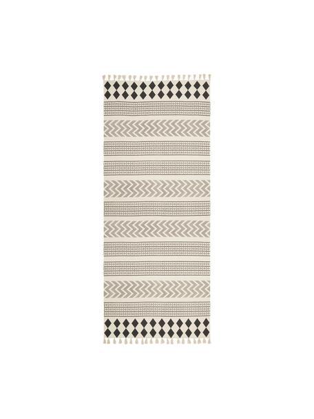 Handgeweven katoenen loper Edna in ethno stijl, 100% katoen, Crèmewit, zwart, 80 x 250 cm