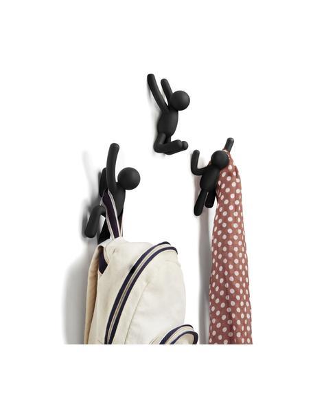 Wandhakenset Buddy, 3-delig, Kunststof (ABS), Zwart, Set met verschillende formaten