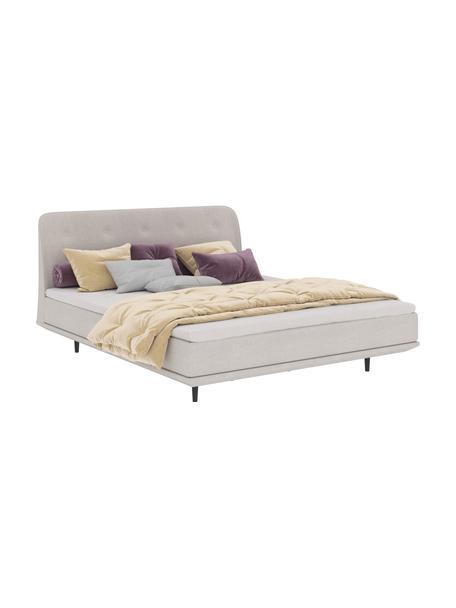 Łóżko kontynentalne Luna, Korpus: lite drewno bukowe, lakie, Tapicerka: 100% poliester, Nogi: lite drewno bukowe, lakie, Beżowy, S 160 x D 200 cm