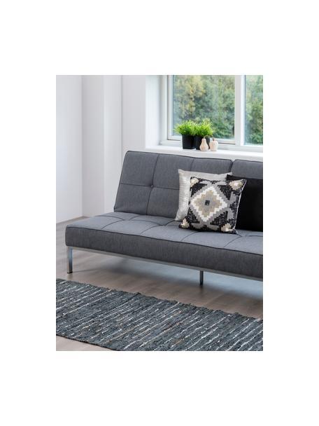 Sofa z funkcją spania z metalowymi nogami Perugia, Tapicerka: aksamit poliestrowy Dzięk, Nogi: metal lakierowany, Jasny szary, S 198 x G 95 cm
