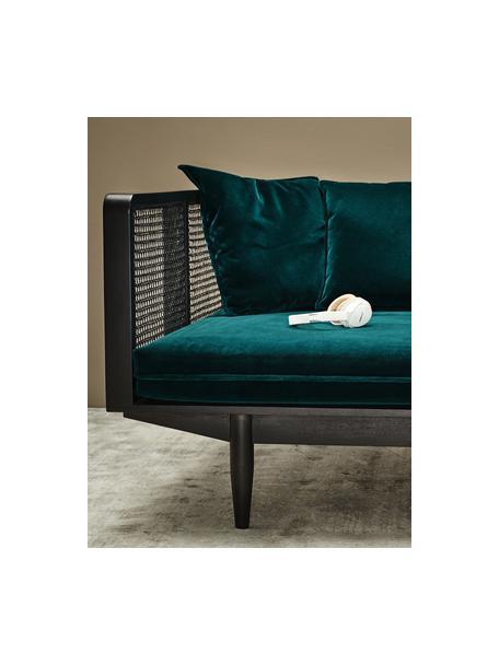 Samt-Sofa Big Sur (3-Sitzer) mit Wiener Geflecht, Bezug: 100% Polyestersamt, Rahmen: Mangoholz, Rattan, Flaschengrün, Schwarz, 106 x 79 cm
