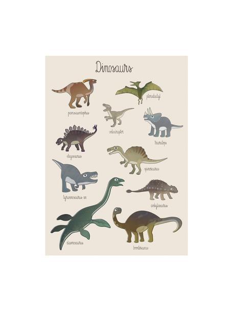 Póster Dino, Papel recubierto, 250g/m², Multicolor, An 50 x Al 70 cm