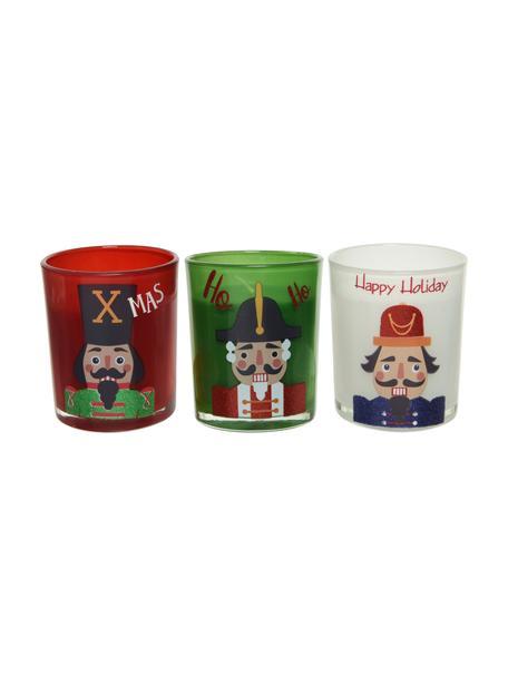 Set 3 candele natalizie Nussknacker, alt. 9 cm, Contenitore: vetro, Rosso, bianco, verde, Ø 7 x Alt. 9 cm