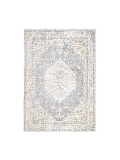 Tappeto vintage in ciniglia tessuto a mano Neapel, Retro: 100% cotone, Blu piccione, crema, taupe, Larg. 120 x Lung. 180 cm (taglia S)