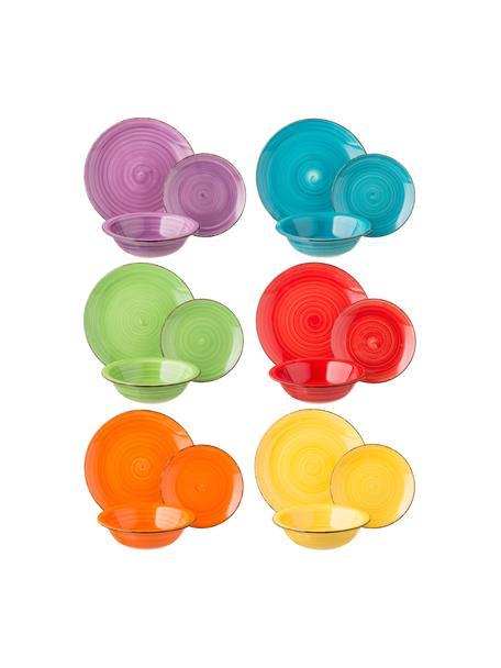 Vajilla artesanal Baita, 6comensales (18pzas.), Gres (dolomita) pintadoamano, Multicolor, Set de diferentes tamaños
