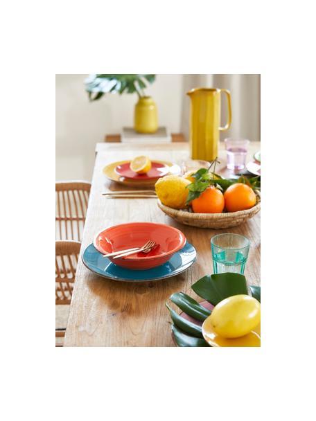 Gekleurde handbeschilderde serviesset Baita, 6 personen (18-delig), Handbeschilderd keramiek (hard dolomiet), Geel, lila, turquoise, oranje, rood, groen, Set met verschillende formaten