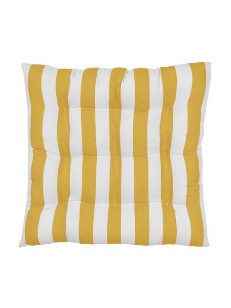 Gestreept stoelkussen Timon in geel/wit, Geel, wit, 40 x 40 cm